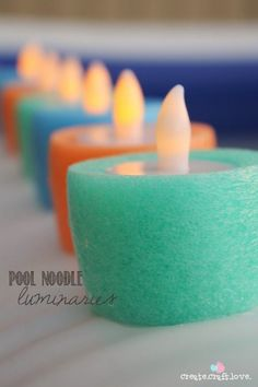Create these Pool Noodle Luminaries for your next pool party! Could be used in a fountain too!