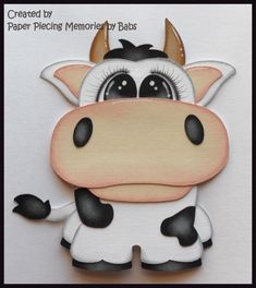 Cow Premade Paper Piecing Embellishment Die Cut by Babs  https://www.facebook.com/paperpiecingmemories.bybabs/