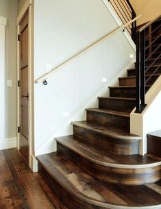 69 wooden staircase design ideas that will surprise people 49 Wooden Staircase Design, Wooden Staircases, Interior Design Your Home, Rustic Home Design, Unfinished Hardwood Flooring, Pine Flooring, Flooring Types, Staircase Makeover, Staircase Remodel