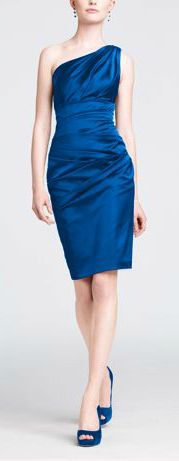 Bridesmaid Dress Option #1:  One Shoulder Stretch Satin Short Dress for Bridesmaids in Horizon Blue.  This is my FAVORITE dress that I have found so far!!  $139.00 From David's Bridal (http://www.davidsbridal.com/Product_One-Shoulder-Stretch-Satin-Short-Dress-85106).