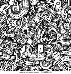 Cartoon hand-drawn sketchy doodles on the subject of car style theme seamless pattern. Vector trace background