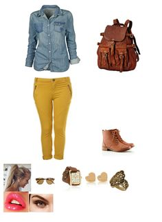 The typical denim paired up with mustard pants and brown boots for a casual college day!