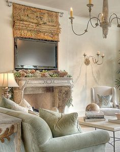 Stylish Ways To Incorporate TVs Into Your Interiors - living room ideas - Fernseher French Decor, French Country Decorating, Tv Cover Up, Tv Escondida, Hidden Tv, French Country Living Room, Home And Deco, Family Room, Living Spaces