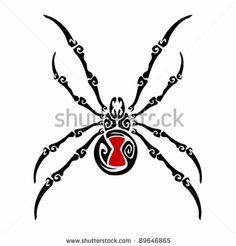 black widow spider tattoo by victor roberto ojeda via shutterstock very stylized
