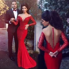 L169 See Through Long Prom Dress, Red Long Lace Sleeve Mermaid Dresses