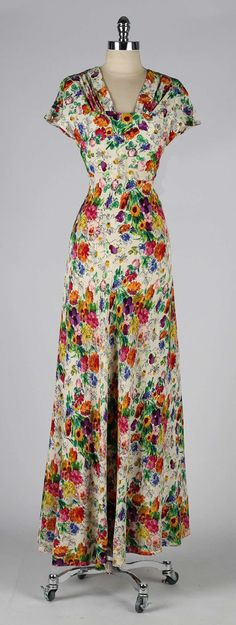 Vintage 1930's Jane Engel Silk Crepe Floral Dress   From a collection of rare vintage evening dresses at https://www.1stdibs.com/fashion/clothing/evening-dresses/