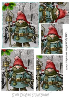 Gnome on a brige with snow and holly, pyramids A5,Makes a lovely christmas card, can be seen in other designs