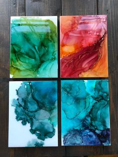 """""""Wavelength""""- 9 x 12 x 7/8 in. alcohol ink painting Painting is sealed with a varnish and coated with UV protectant to ensure crisp color that will not fade. Mounted onto primed wood panel and coated in art resin to give it a glossy shine. Not recommended for direct display in"""