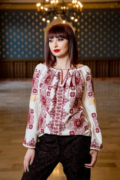 Ie Tradiţională Romanească crizantemă Ethnic Fashion, Spring Collection, Folk Art, Popular, Embroidery, My Style, Handmade, How To Wear, Outfits