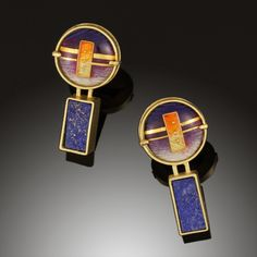 Purple Lapis Earrings - 18K, 24K Yellow Gold, Cloisonne Enamel, Lapis Lazuli by Amy Roper Lyons