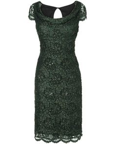 Forest Green Lace Dress with a Gorgeous Neckline - Women's Forest Belinda Lace Dress - Phase Eight