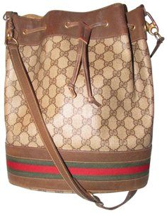 cbb35a05982c Gucci Drawstring Gold Hardware Red Green Accents Excellent Vintage Satchel  in brown large G logo