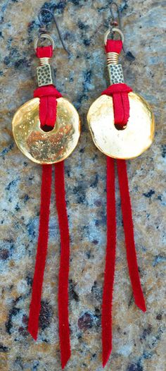 Gold Disc and Red Leather Earrings | XO Gallery