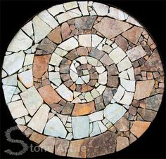 Stone Art Blog: Making a mosaic out of pieces of stone for outdoor use.