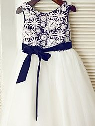 A-line+Tea-length+Flower+Girl+Dress+-+Lace+/+Satin+/+Tulle+Sleeveless+Scoop+with+–+USD+$+175.00