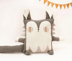 Cushion Cat Plush EcoFriendly Upcycled Fabric by Cabane