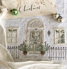 Merry Christmas to all! Handwritten label by Kate of Silk Ribbon Embroidery, Hand Embroidery Patterns, Embroidery Art, Cross Stitch Embroidery, Christmas Sewing, Christmas Embroidery, Merry Christmas To All, Christmas Decorations To Make, Fabric Art