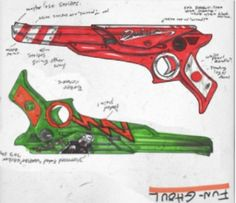 Gerard Way's concept art for the Killjoy's laser pistols. It's said that the Killjoy names were originally only the names of their guns. | Make a wish when your childhood dies Tumblr | Explaining the world of the Killjoys in complete and total detail.