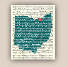 Ohio State Map Art Print personalized outline map by DigiMarthe, $19.50