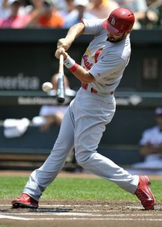 Designated hitter Matt Carpenter singles in the first inning against the Orioles. Cards won 8-3. 8-10-14