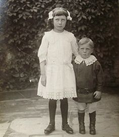 Antique Photo Postcard - Two Children, Myrtle & Donald in 1913