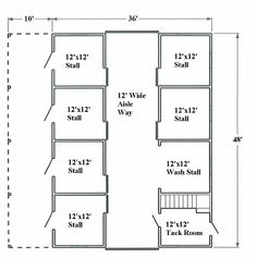 Would make milking room and make the stall across from the tack room a secure feed storage area. You could section off the lean-to area so each stall opened into its own yard, too. The Plan, How To Plan, Barn Layout, Floor Plan Layout, Horse Barn Plans, Horse Barns, Horse Stables, Dream Stables, Horse Barn Designs