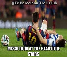 Messi look at the beautiful stars