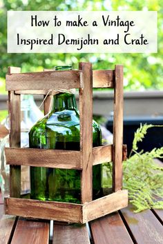 Demijohn and Crate Vintage Inspired DIY, How to Create a Farmhouse inspired demijohn. You can be creative and have the farmhouse decorator look for less. Palet Projects, Diy Craft Projects, Wood Crafts, Diy Crafts, Do It Yourself Crafts, Shabby Chic Cottage, Bottles And Jars, French Country Decorating, Diy Woodworking