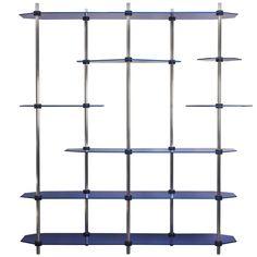 Tall Hex Shelving in Candied Metallic Blue, Modular Knock Down Aluminium Modular Bookshelves, Modular Shelving, Modern Bookcase, Metal Shelving Units, Steel Shelving, Industrial Shelving, Luxury Home Furniture, Dream Furniture, Modern Furniture