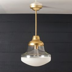 Brass Mid Century Pendant - 12in Wide Half Clear / Half Frosted $268