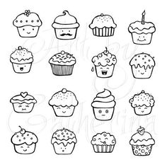 cute cupcake doodles planner and Bullet Journal art Doodle Inspiration, Bullet Journal Inspiration, Doodle Drawings, Easy Drawings, Cute Food Drawings, Bujo Doodles, Food Doodles, Kawaii Doodles, Doodle Lettering