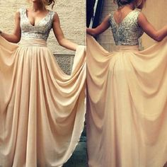 A-line V-neck Sleeveless Silver Sequins Bodice Floor-length Chiffon Long Bridesmaid Dresses