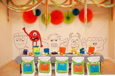 love the monster bags for party favors with crayons in them; also the monsters on the wall to color is a great idea