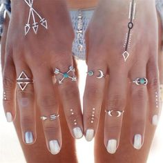 New 6 pcs/set Vintage Silver Color Ring Sets Antique Midi Finger Rings for Women Steampunk Turkish Party Boho Knuckle Ring #Affiliate
