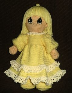 Precious moments doll with yellow dress and by GoodasGoldCrafts, $40.00