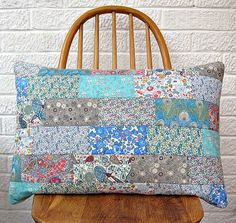Quilt as you go tutorial. Beginner. Liberty patchwork cushion (blue/grey)