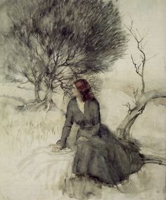 Arthur Rackham - Girl Beside a Stream. Watercolour. 1920s