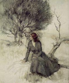Arthur Rackham - Girl Beside a Stream. Watercolour.
