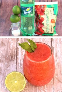 Strawberry Drinks for Kids or Adults: Easy Slushie!  With just 4 ingredients, this delicious frozen drink will be one of the EASIEST things you'll make all week!  Go grab the recipe and treat your kiddos or yourself to a tasty treat tonight! Slush Recipes, Drinks Alcohol Recipes, Fruit Recipes, Alcoholic Drinks, Vodka Drinks, Orange Recipes, Drink Recipes, Recipies, Cocktails