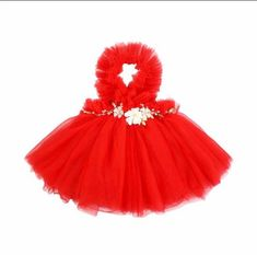 NEWEST EDITION-  Kryssi Kouture Girls Ruffled Tulle Red Swan Dress    How fabulous are ruffles? A true ruffled piece this darling dress features a ruffled neckline and a plentiful tulle skirt. Sweet floral applique adds detail to the waistline creating a ever after whimsical dress for your princess.