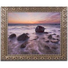 Trademark Fine Art 'Silky Water Rocks' Canvas Art by Michael Blanchette Photography, Gold Ornate Frame, Size: 11 x 14, Assorted