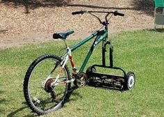 This looks cool! - Green Renaissance This ingenious Bicycle-Lawnmower, fun way to cut your lawn. Riding Lawn Mowers, Homestead Survival, Cool Photos, Creations, Good Things, Manly Things, Amazing Things, Crafty, Cool Stuff