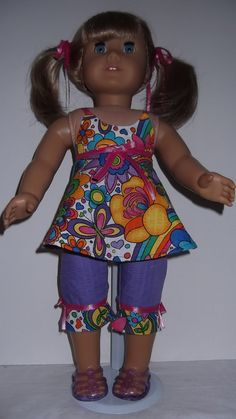 American Girl doll clothes  Purple Capri Top & by susiestitchit, $18.00