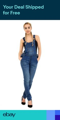 f8372d9256 Womens Ladies Denim Dungaree Full Length Pinafore Jumpsuit size 8 to 16