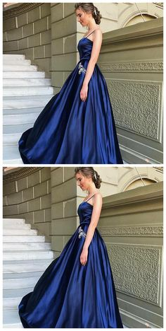 2c876266ce2 A-Line Spaghetti Straps Dark Blue Satin Prom Dress with Beading Pockets