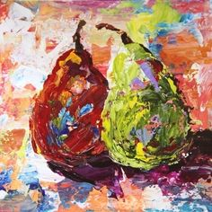 Two Pear Palette Knife Abstract Fruit Painting by Texas Artist Laurie Pace, painting by artist Laurie Justus Pace