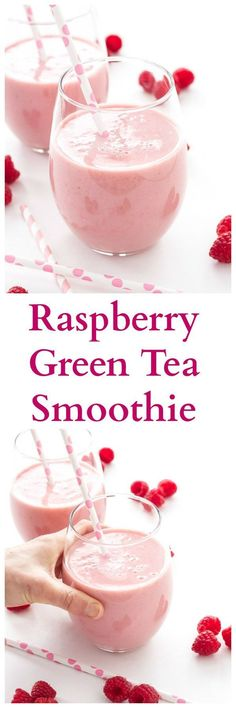 Raspberry Green Tea Smoothie | Green tea replaces juice and milk in this healthy and delicious smoothie! | http://www.reciperunner.com