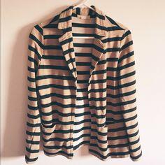 F21 Blazer Tan & black stripe. Front pocket detail. Great condition! Forever 21 Jackets & Coats Blazers