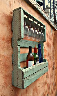 Wood Pallet Furniture - Rustic Wood Wine Rack, Distressed Turquoise, Pallet Wine Rack,Wine Storage 5 glass holder, Hang or S Wooden Pallet Projects, Wooden Pallet Furniture, Wooden Pallets, Pallet Ideas, Diy Projects, Lawn Furniture, Pallet Designs, Distressed Furniture, Furniture Online