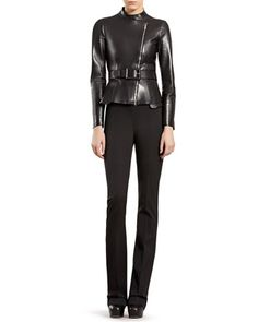 Leather Zip-Front Jacket & Silk-Wool Flare Pants by Gucci at Neiman Marcus.